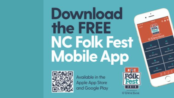 Download the free NC Folk Fest mobile app available in the Apple App Store and Google Play with this QR code.