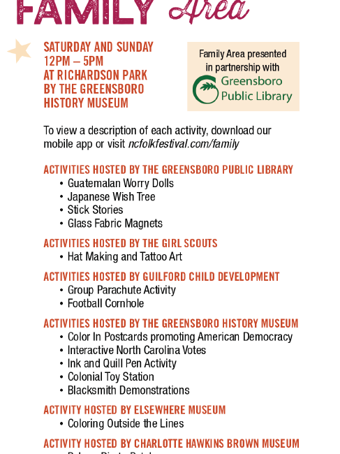List of activities in the 2019 Family Area.