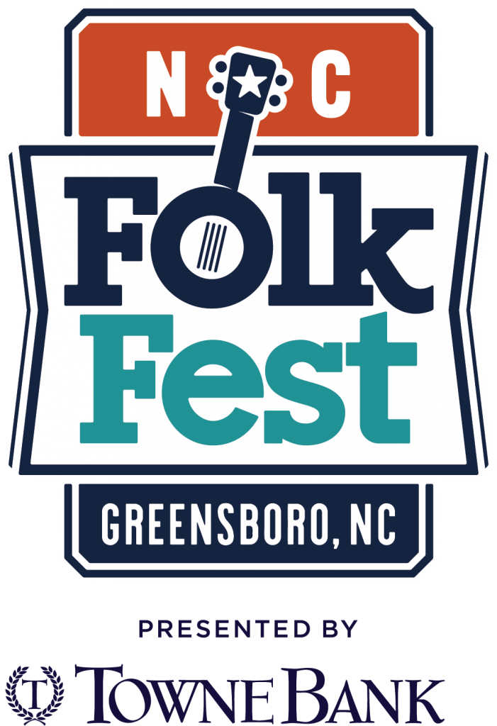 Logo of the North Carolina Folk Festival at Greensboro presented by Towne Bank.