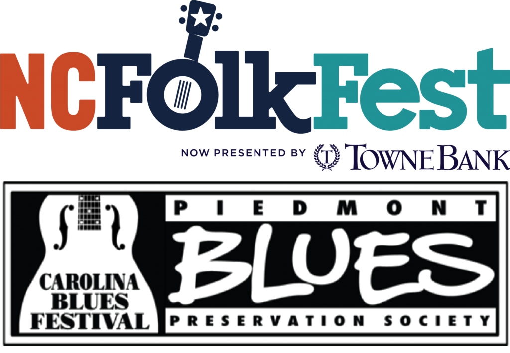 Logo for the North Carolina Folk Festival presented by Towne Bank above the logo for the Carolina Blues Festival presented by Piedmont Blues Preservation Society.