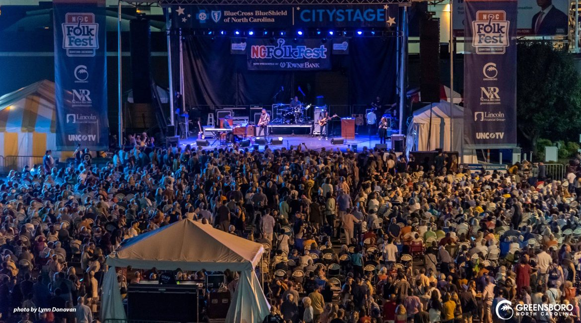 A large crowd gathered to see Booker T. at the 2019 North Carolina FolK Festival.