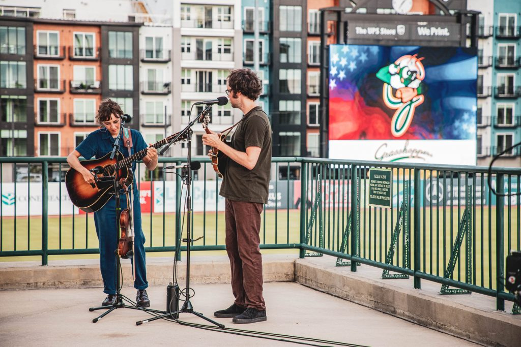 Mandolin Orange performs at First National Bank Field.