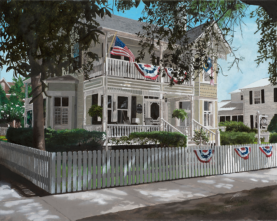 Painting of a white house.