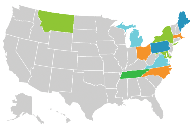 Blank United States map with the following states highlighted: Montana, Michigan, Ohio, Tennessee, North Carolina, Virginia, Maryland, Pennsylvania, New York, Massachusetts, and Maine.